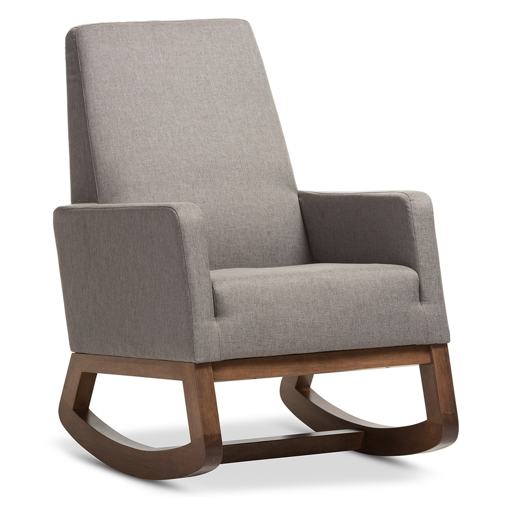 Rocking Chairs For Small Spaces Intended For Trendy Whole Rocking Chairs Living Room Furniture Grey Upholstered Chair (View 11 of 15)