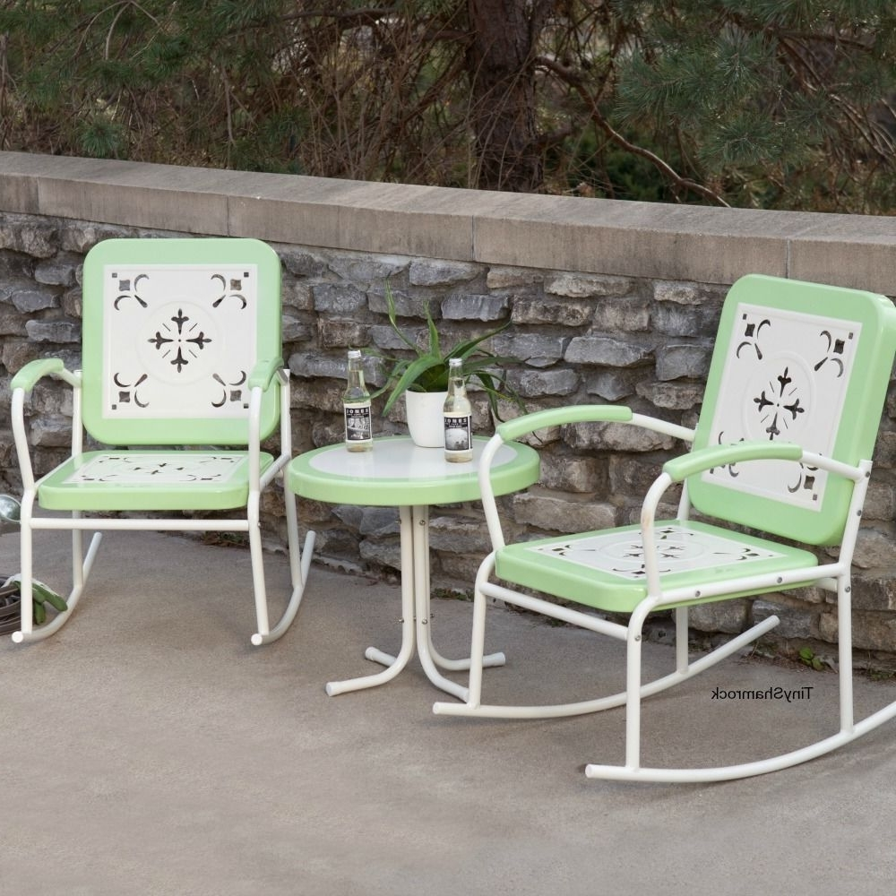 Rocking Chairs Metal Bistro Set Retro Style Green Patio Furniture 3 Intended For Most Popular Patio Rocking Chairs Sets (View 11 of 15)