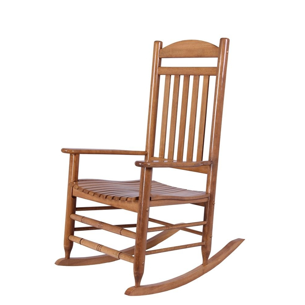 Rocking Chairs Pertaining To Fashionable Hampton Bay Natural Wood Rocking Chair It 130828N – The Home Depot (View 13 of 15)