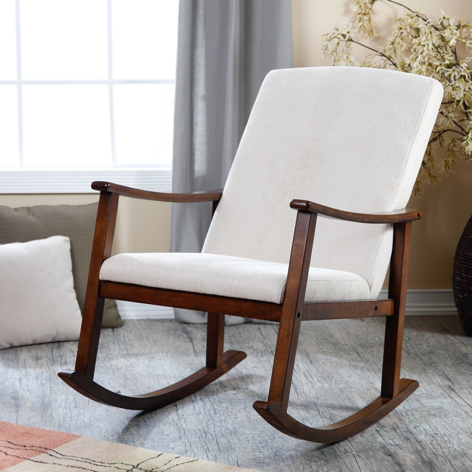 Rocking Chairs With Cushions Intended For Fashionable Bedroom: Outstanding Design Of Rocking Chair Cushions For Nursery (View 7 of 15)