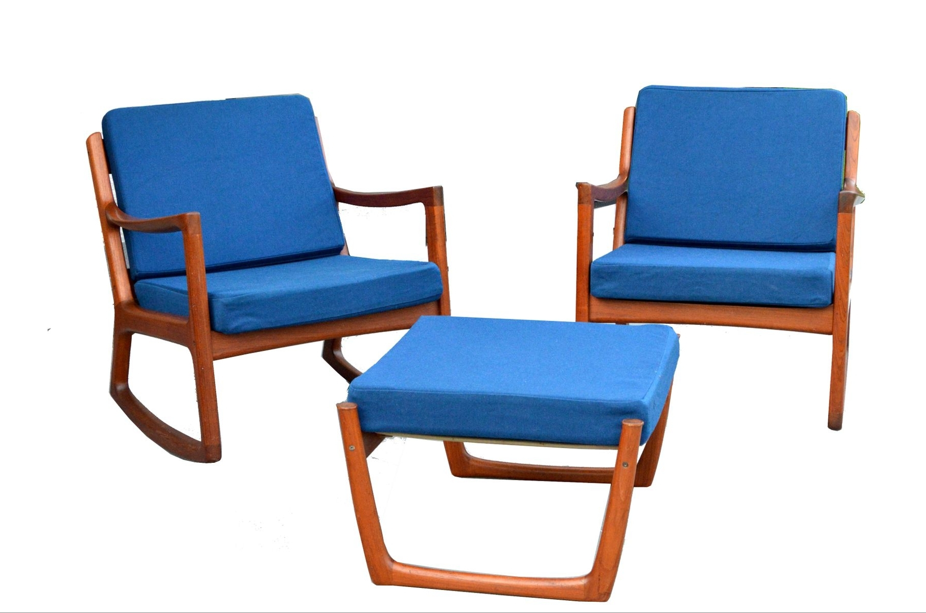 Rocking Chairs With Footstool Throughout Most Popular 2 Senator Rocking Chairs & 1 Footstoolole Wanscher For France (View 9 of 15)