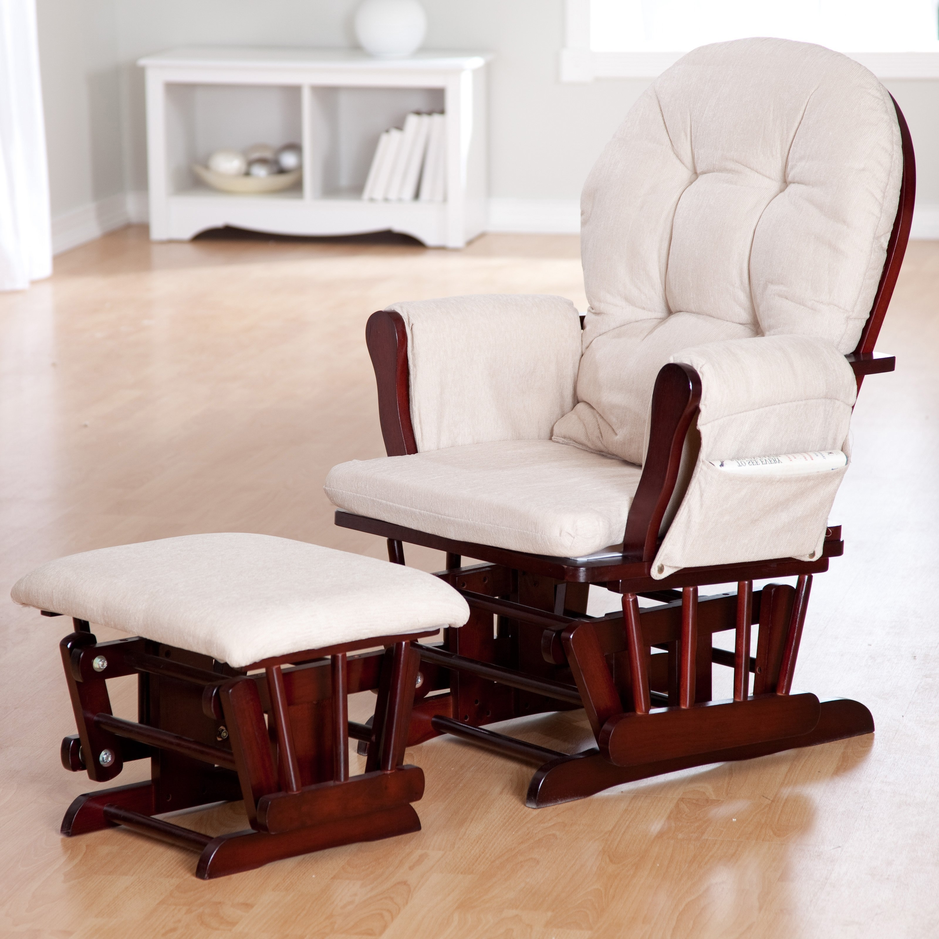 Rocking Chairs With Footstool With Regard To Current Ottomans : Upholstered Rocking Chair For Nursery Glider And Recliner (View 5 of 15)