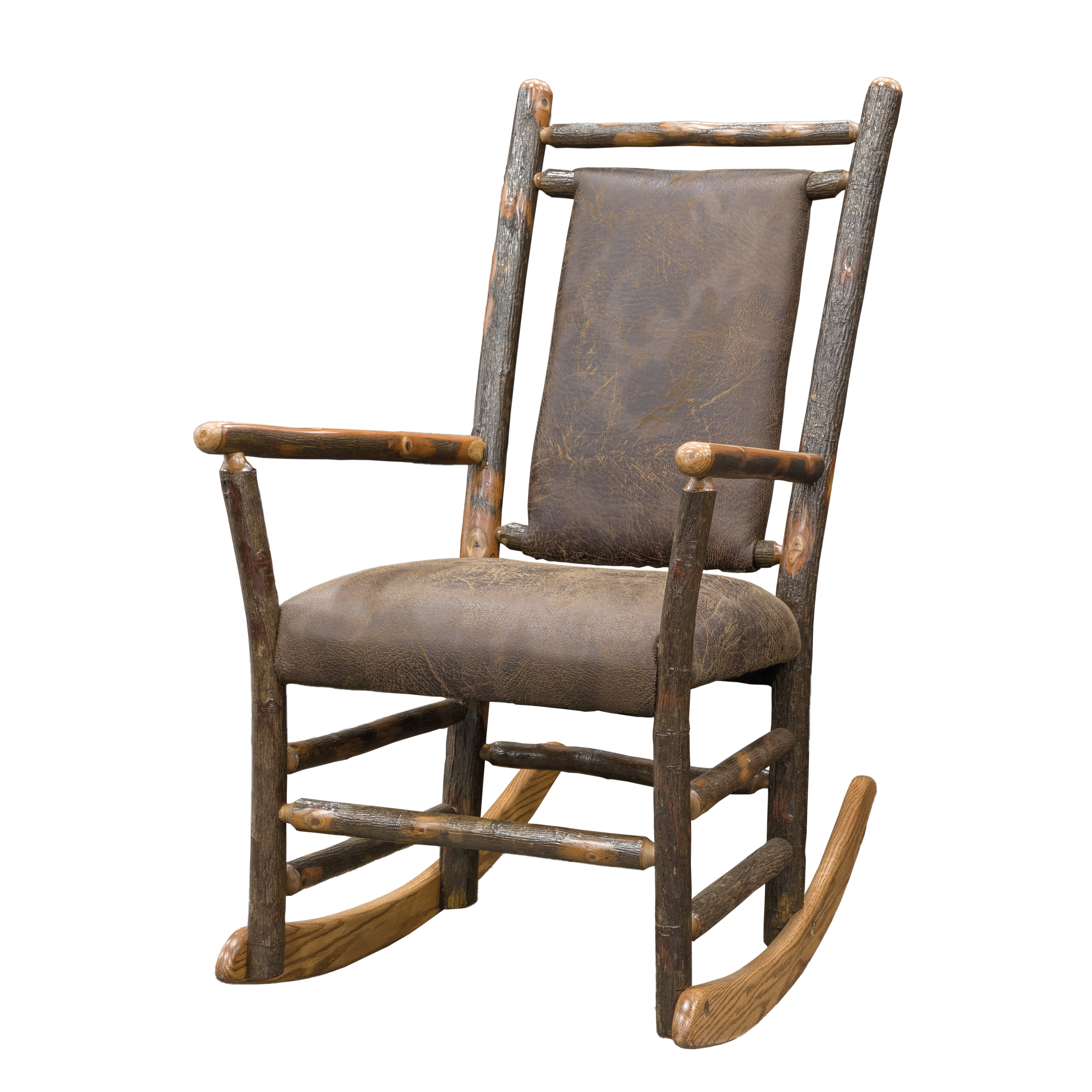 Rocking Chairs With Lumbar Support In Trendy Rustic Hickory Rocking Chair With Faux Brown Leather Seat And Back (View 12 of 15)