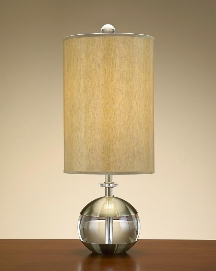 Round Table Lamp With Cylinder Lamp Shade In Oak Table Living Room Throughout Newest Living Room Table Lamp Shades (View 4 of 15)