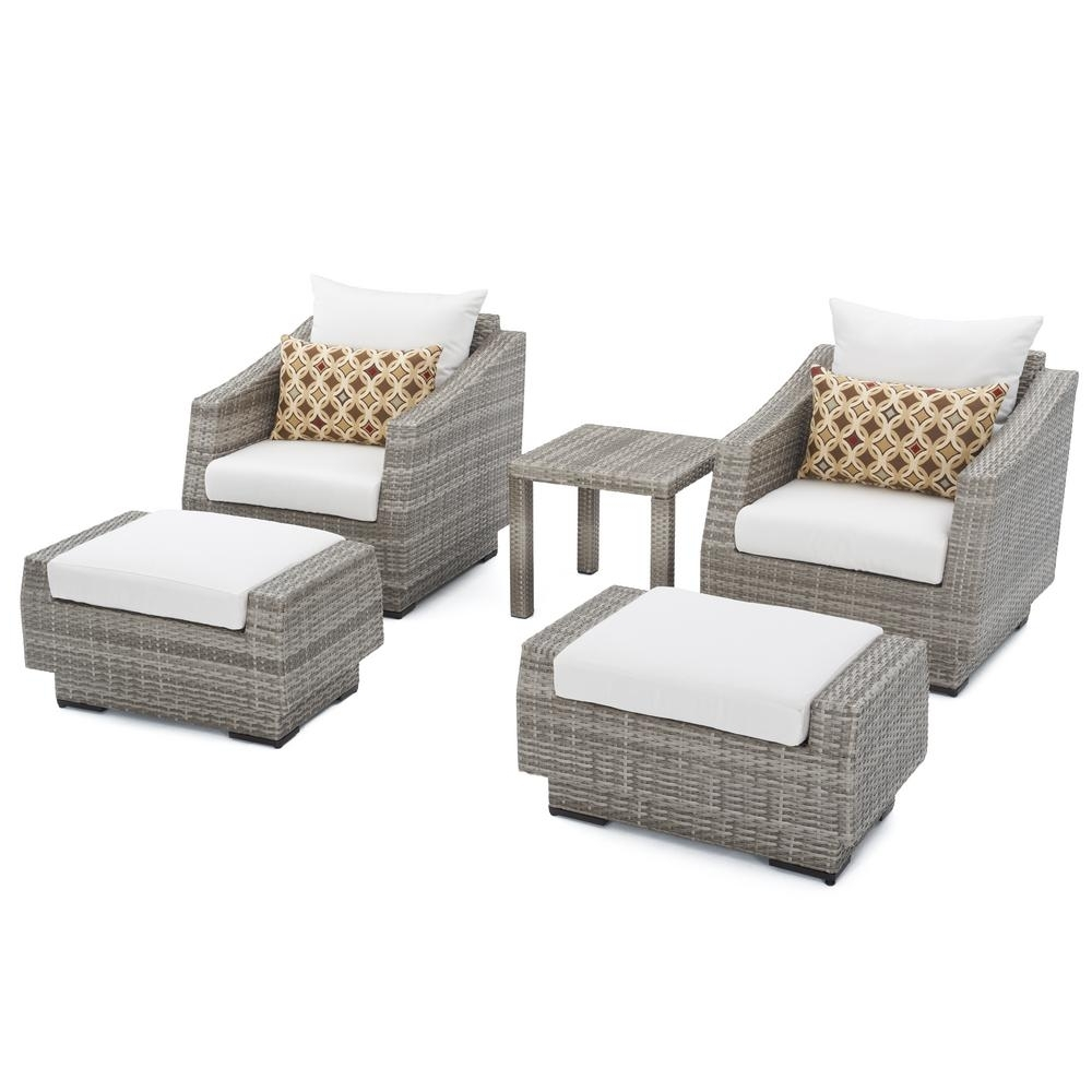 Rst Brands Cannes 5 Piece Wicker Patio Club Chair And Ottoman Set For 2017 Patio Conversation Sets With Ottoman (View 15 of 15)