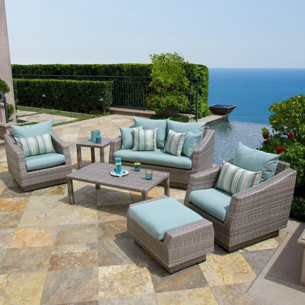 Rst Brands Cannes 6 Piece Patio Seating Set With Bliss Blue Cushions In Best And Newest Patio Conversation Sets With Blue Cushions (View 14 of 15)