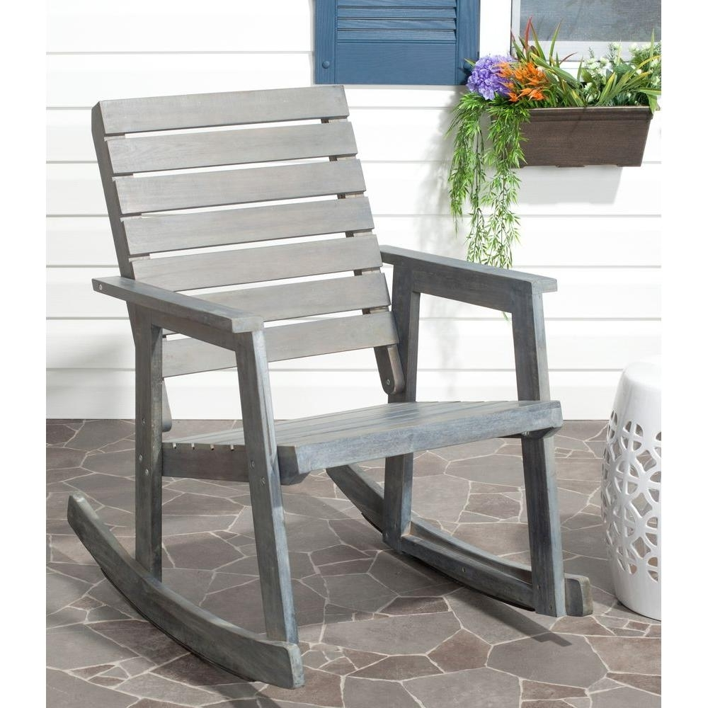 Safavieh Alexei Ash Gray Acacia Wood Patio Rocking Chair Fox6702A With Current Wooden Patio Rocking Chairs (View 11 of 15)