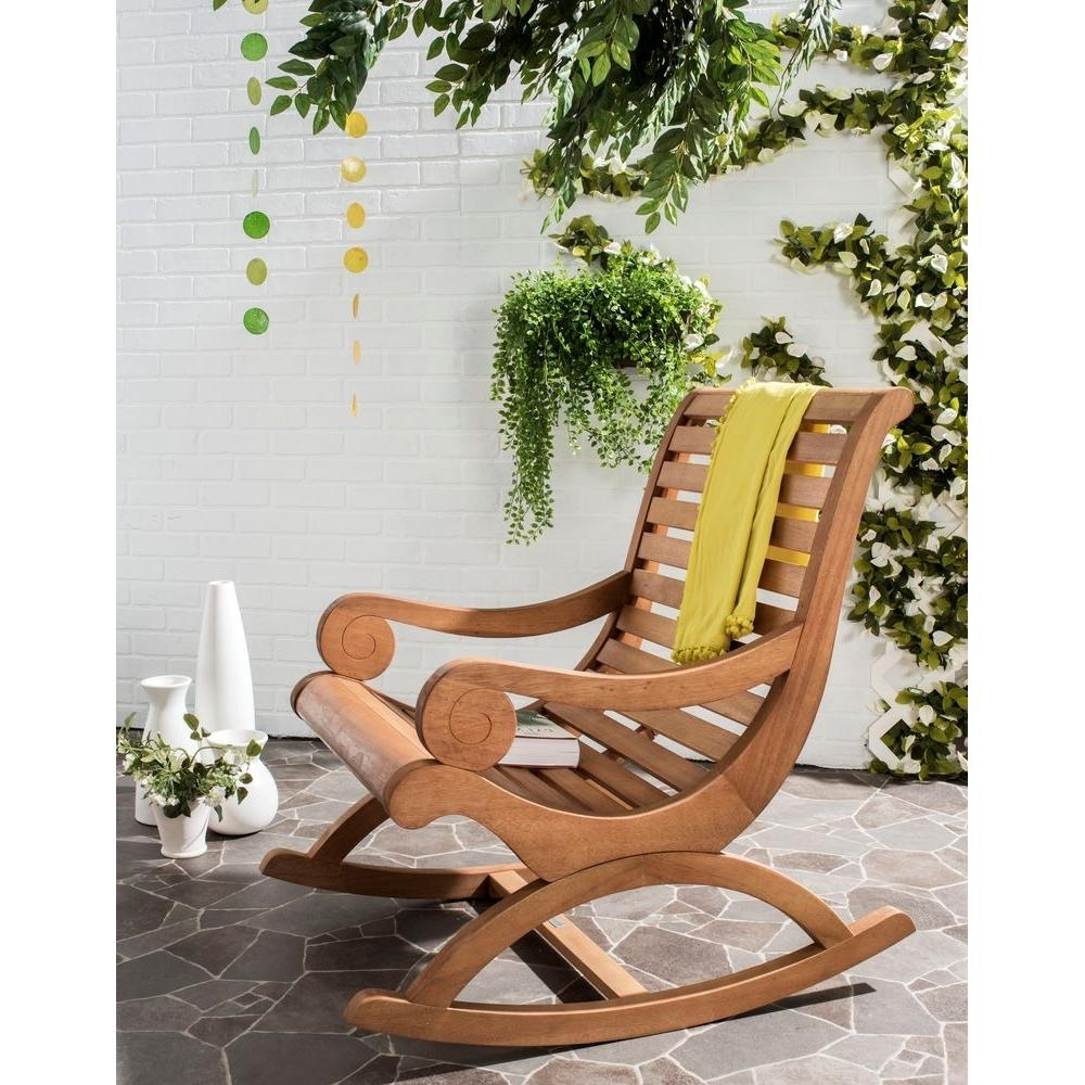 Safavieh Sonora Teak Brown Outdoor Patio Rocking Chair Pat7016B Regarding Most Up To Date Teak Patio Rocking Chairs (View 3 of 15)