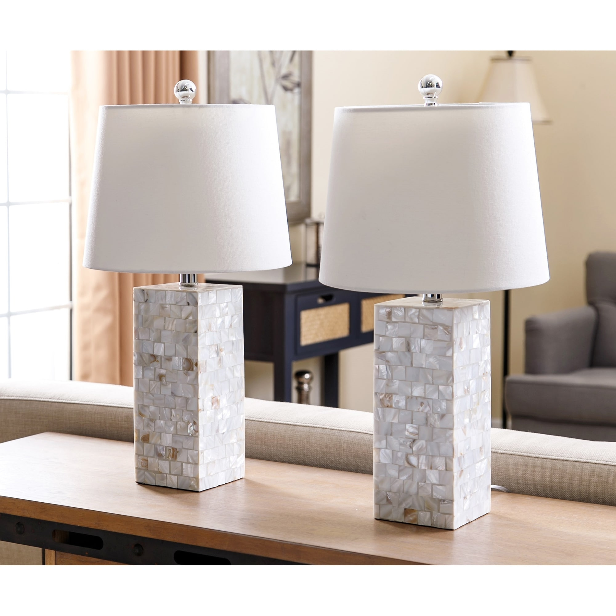 Shop Abbyson Mother Of Pearl Square Table Lamp (Set Of 2) – On Sale Throughout Most Up To Date Set Of 2 Living Room Table Lamps (View 13 of 15)