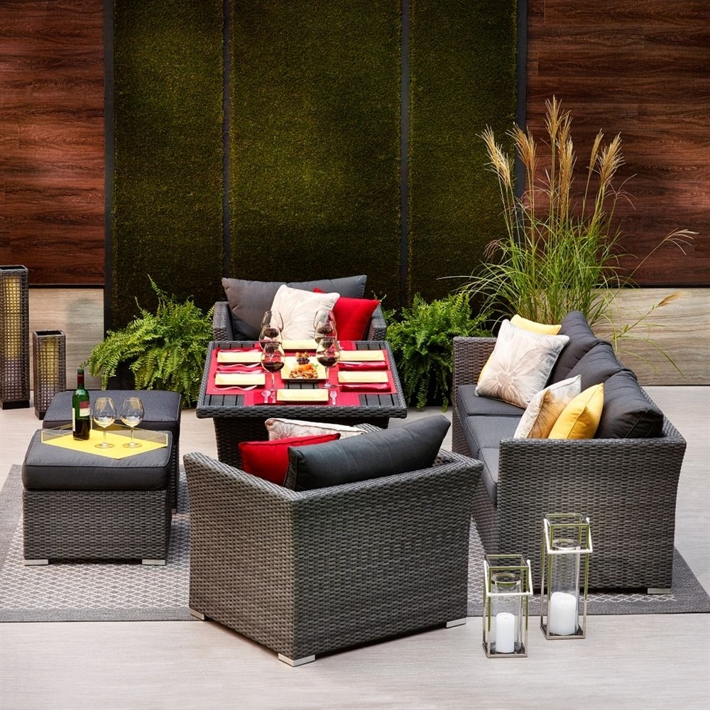 Shop Allen + Roth Prescott 6 Piece Wicker Conversation Set At Lowe's Within Well Liked Patio Conversation Dining Sets (View 13 of 15)