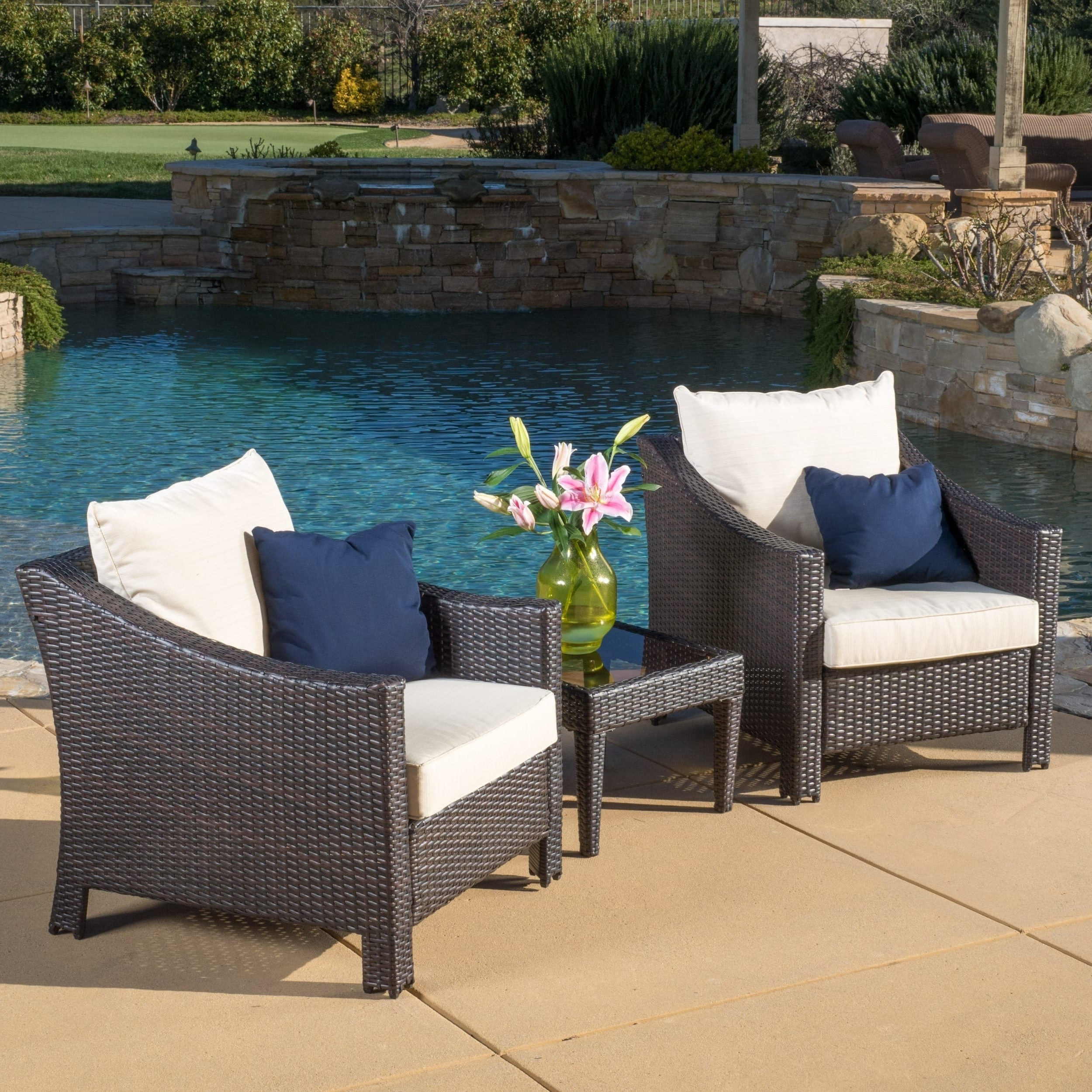 Shop Antibes Outdoor 3 Piece Wicker Conversation Set With Cushions With Best And Newest 3 Piece Patio Conversation Sets (View 2 of 15)