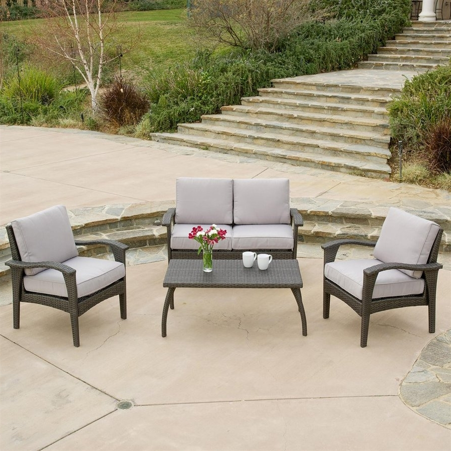Shop Best Selling Home Decor Honolulu 4 Piece Wicker Frame Patio Regarding Most Up To Date Grey Patio Conversation Sets (View 15 of 15)