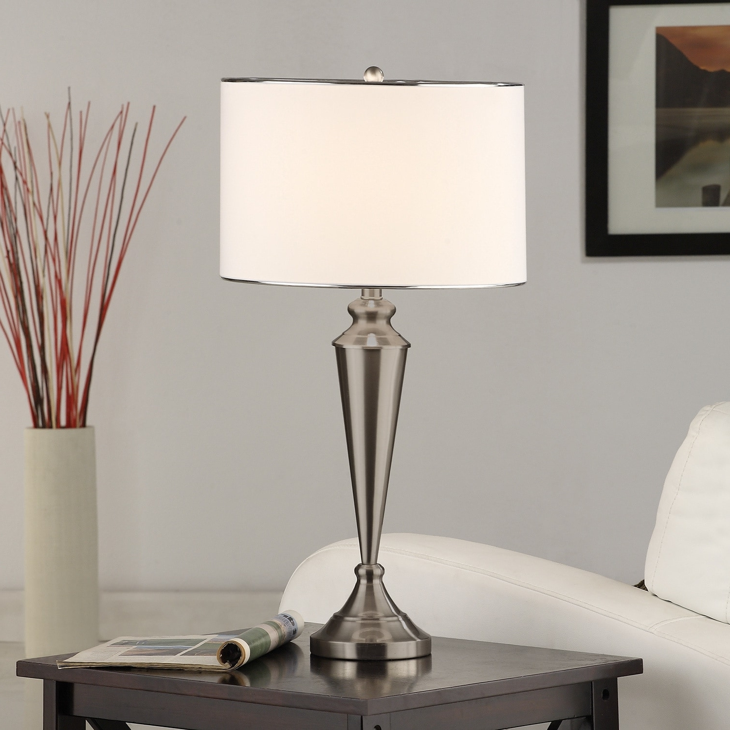 Shop Brushed Nickel Contemporary Table Lamp (Set Of 2) – Free Intended For Most Current Overstock Living Room Table Lamps (View 7 of 15)