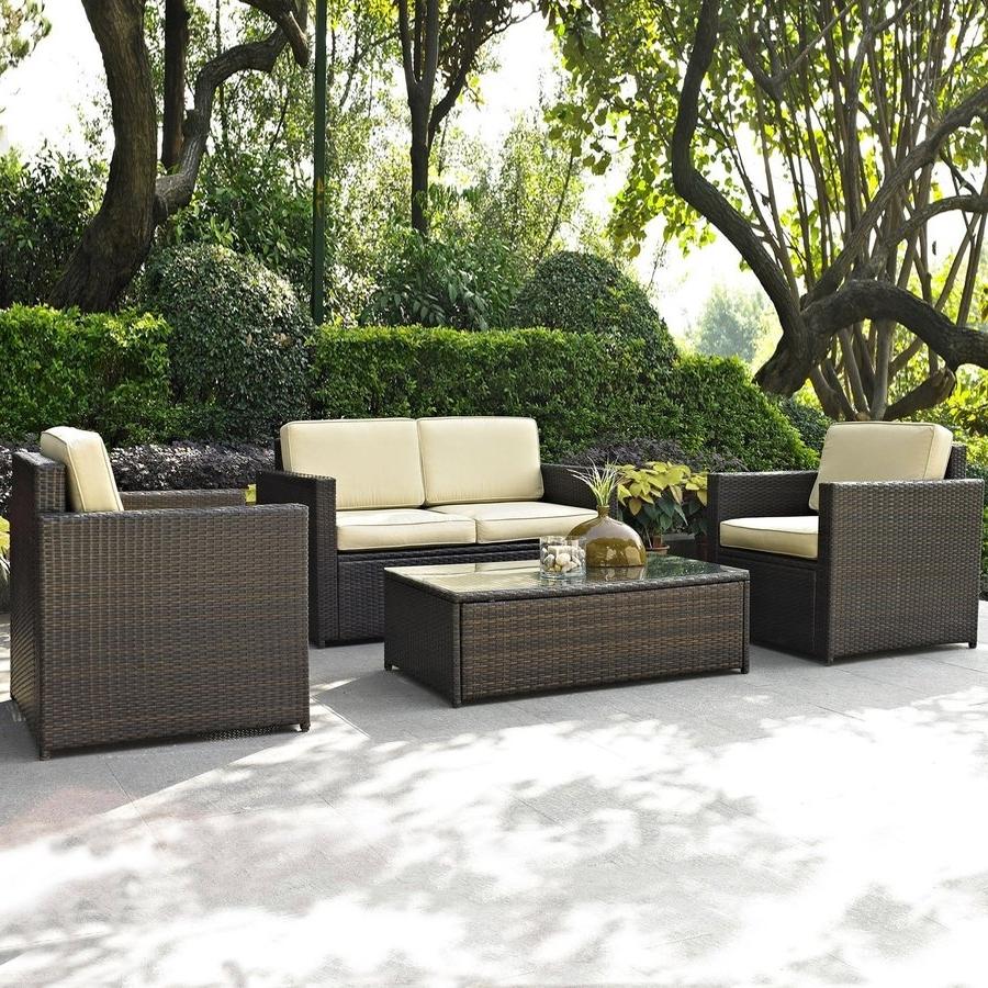Shop Crosley Furniture Palm Harbor 4 Piece Wicker Patio Conversation In Fashionable 4 Piece Patio Conversation Sets (View 15 of 15)