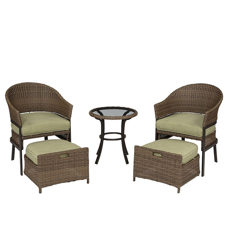 Shop Garden Treasures 5 Piece Cape Verde Brown Steel Patio Pertaining To 2018 Steel Patio Conversation Sets (View 9 of 15)