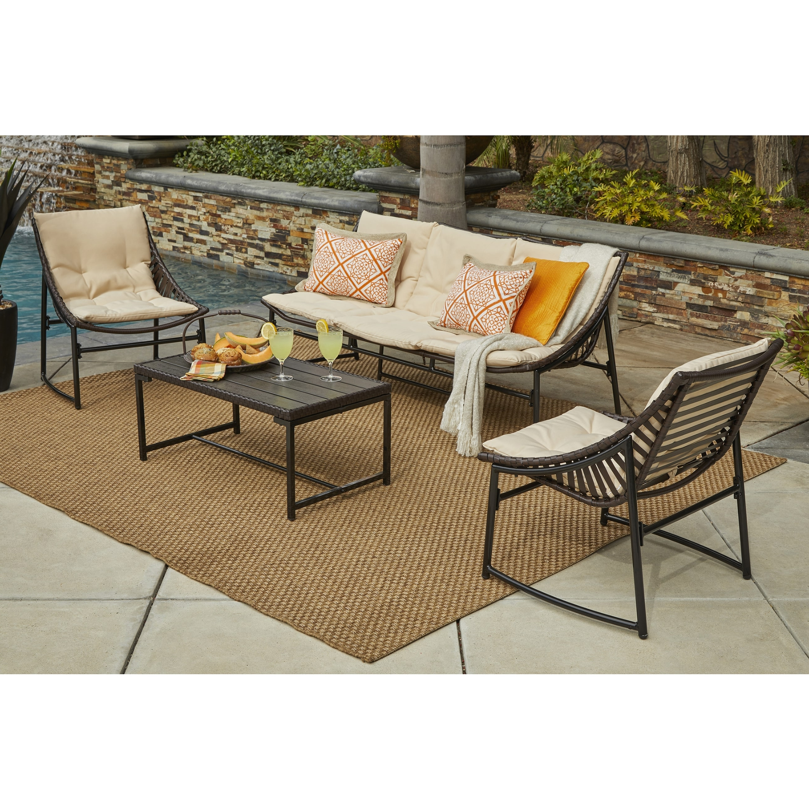 Shop Handy Living Nico 4 Piece Indoor/outdoor Sling Conversation Set Pertaining To Most Up To Date Sling Patio Conversation Sets (View 14 of 15)