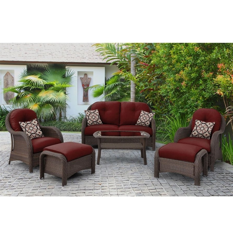 Shop Hanover Outdoor Furniture Newport 6 Piece Wicker Frame Patio Intended For 2018 Red Patio Conversation Sets (View 14 of 15)