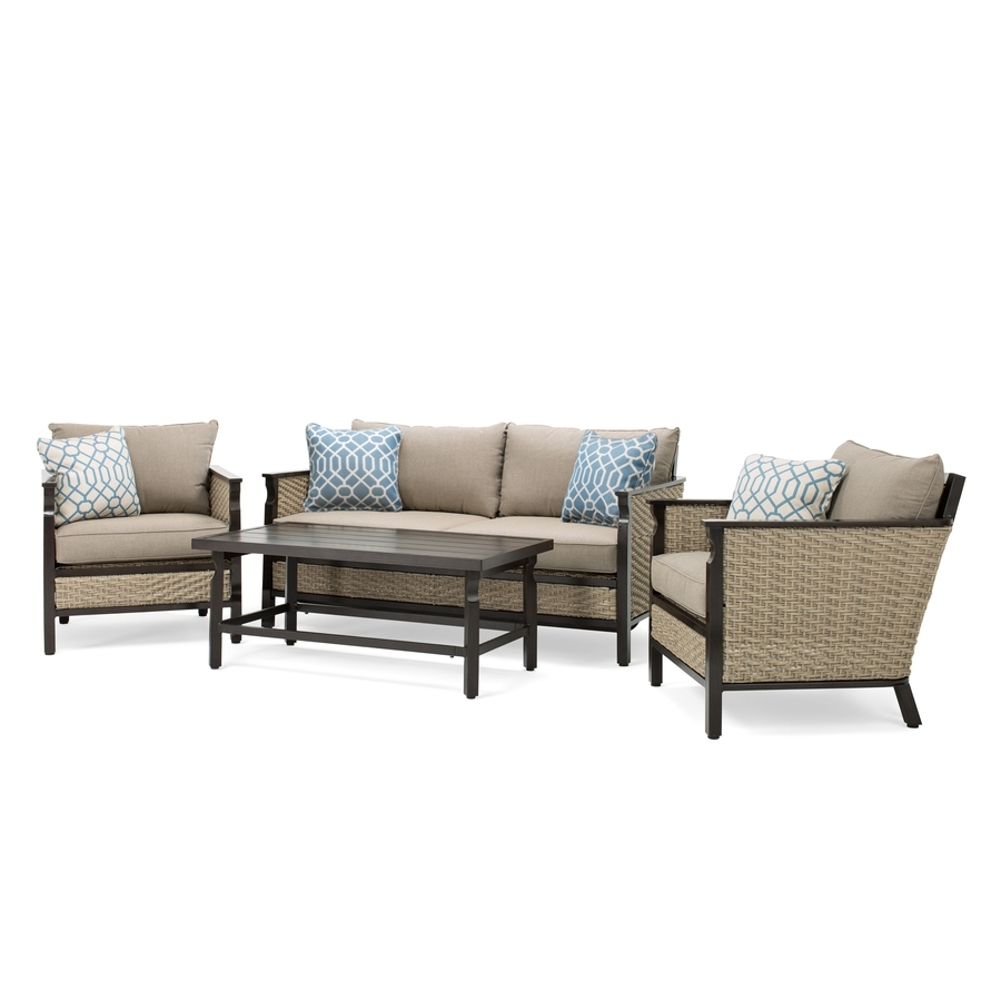 Shop La Z Boy Outdoor Colton 4 Piece Wicker Frame Patio Conversation Within Well Liked Lazy Boy Patio Conversation Sets (View 15 of 15)