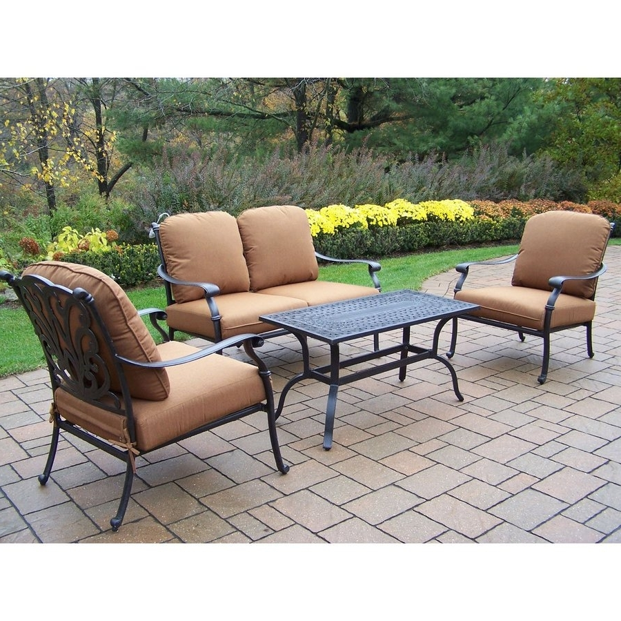 Shop Oakland Living Hampton 4 Piece Aluminum Patio Conversation Set Within Well Liked Aluminum Patio Conversation Sets (View 14 of 15)