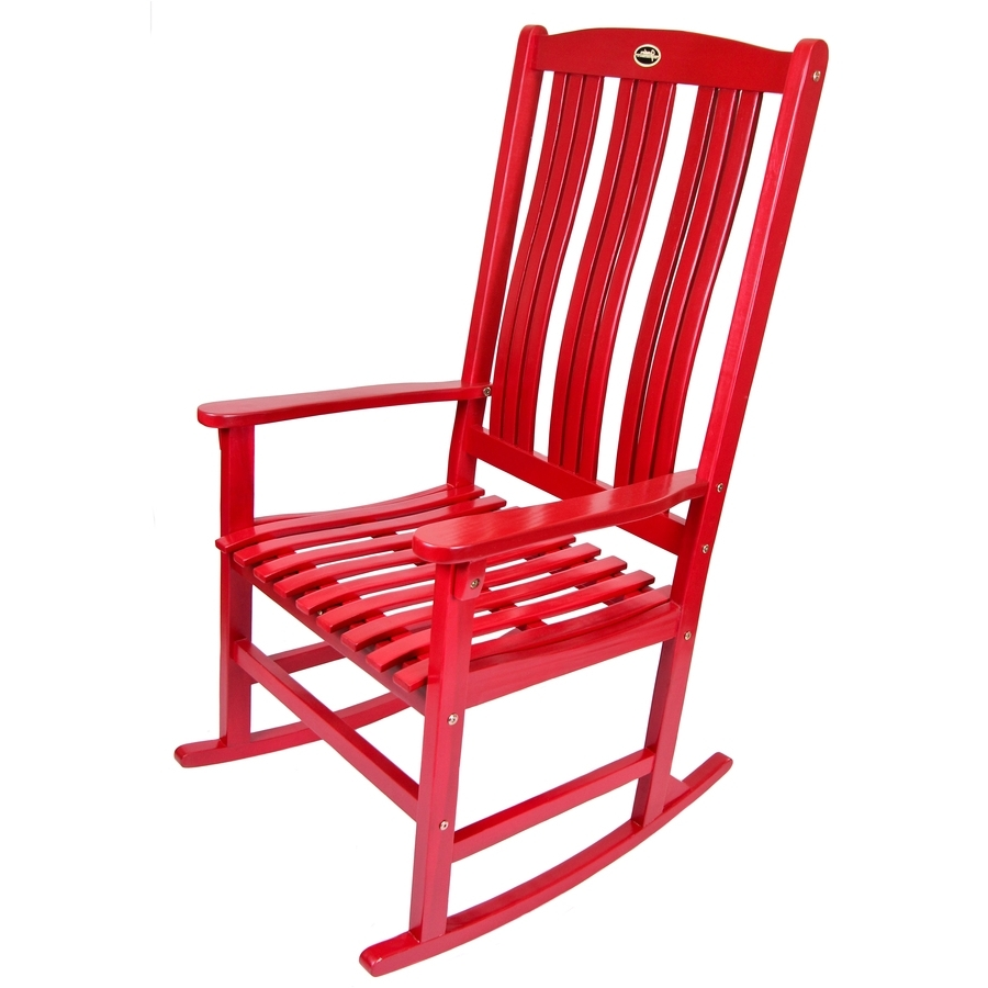 Shop Red Wood Slat Seat Outdoor Rocking Chair At Lowes Within Favorite Red Patio Rocking Chairs (View 6 of 15)