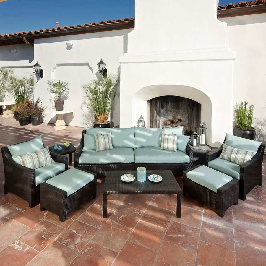 Shop Rst Brands Deco 8 Piece Wicker Frame Patio Conversation Set In Most Recent Patio Conversation Sets With Ottomans (View 13 of 15)
