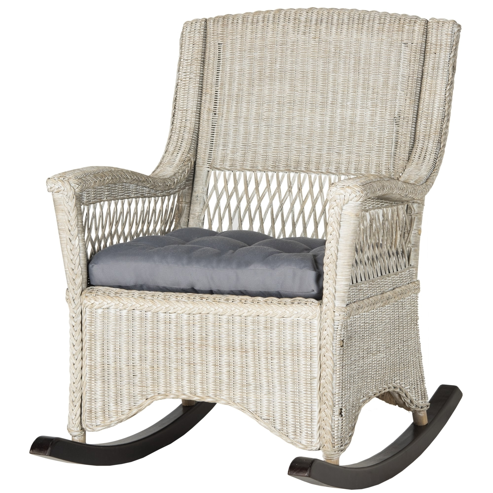 Shop Safavieh Aria Antique Grey Rocking Chair – On Sale – Free Pertaining To Well Known Antique Wicker Rocking Chairs (View 14 of 15)