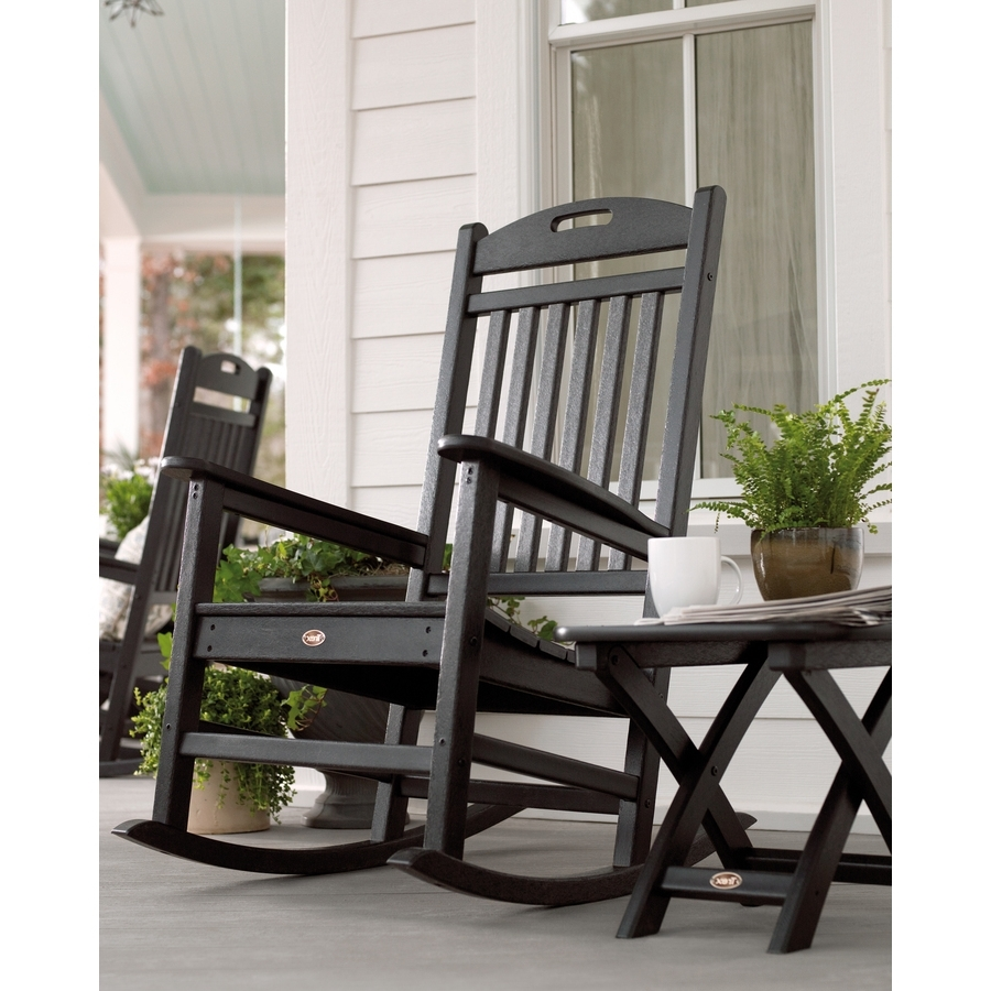 Shop Trex Outdoor Furniture Yacht Club Plastic Rocking Chair With Throughout Most Popular Black Rocking Chairs (View 9 of 15)