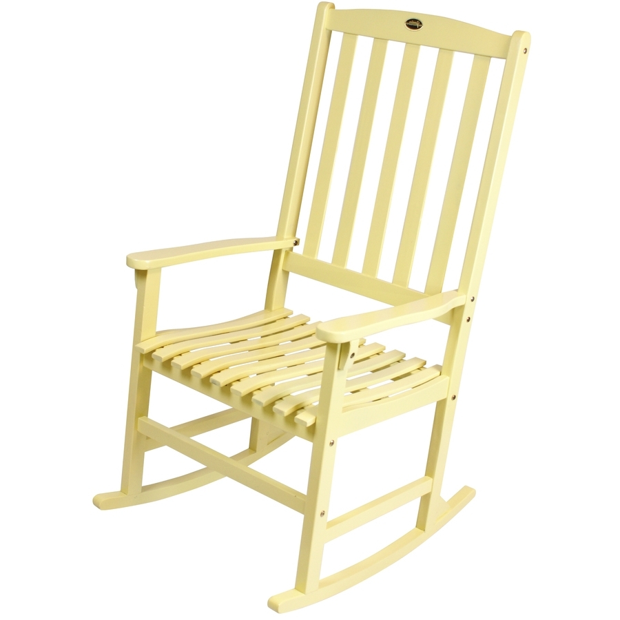 Shop Yellow Wood Slat Seat Outdoor Rocking Chair At Lowes In Preferred Yellow Outdoor Rocking Chairs (View 11 of 15)