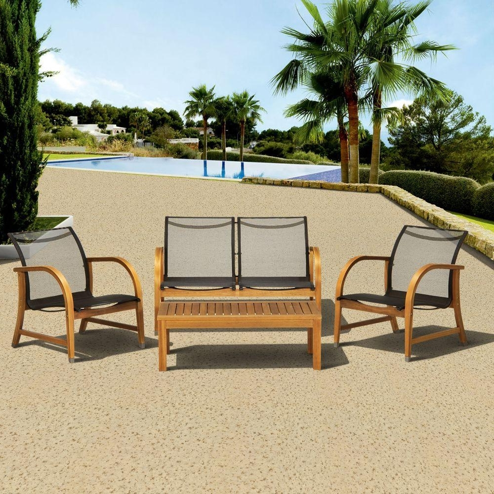 Sling Patio Conversation Sets In Most Popular Amazonia Manhattan Eucalyptus 4 Piece Patio Deep Seating Set (View 8 of 15)