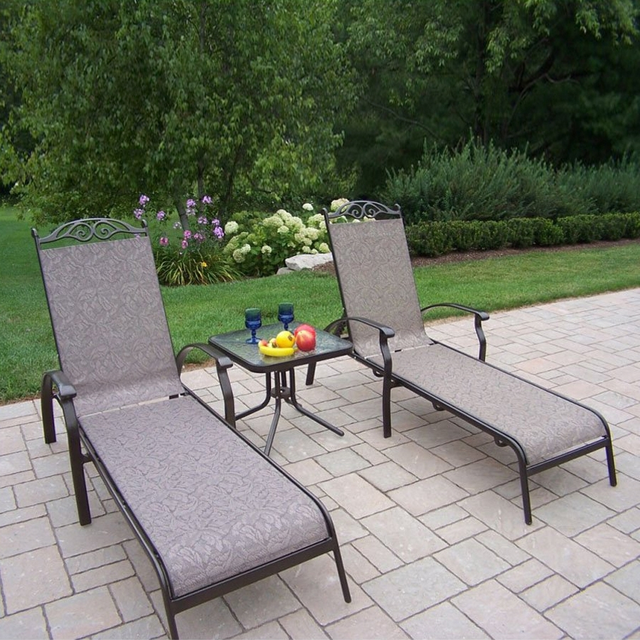 Sling Patio Conversation Sets With Most Up To Date Shop Oakland Living Cascade Sling 3 Piece Plastic Frame Patio (View 13 of 15)