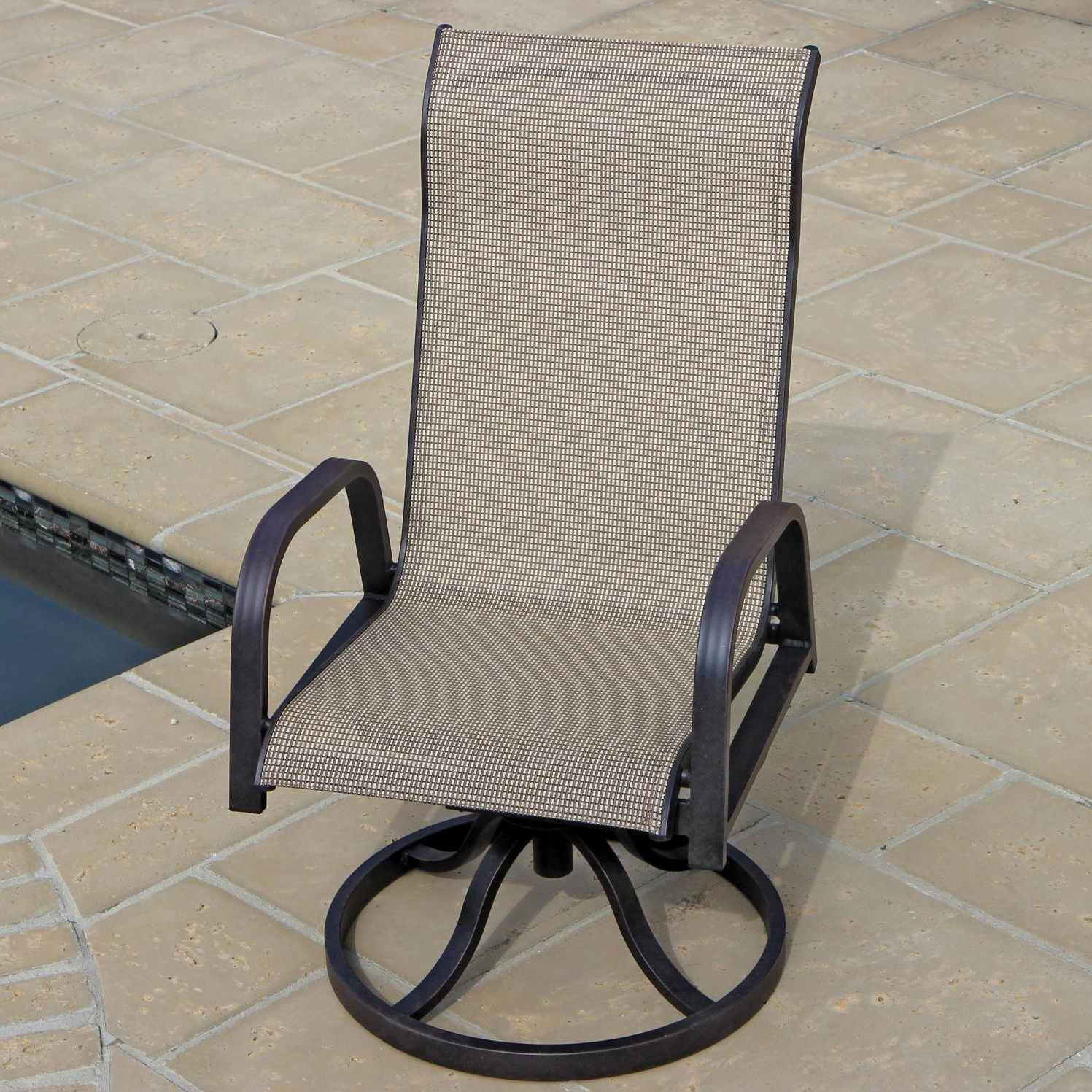 Sling Swivel Rocker Patio Chairs Awesome Madison Bay 7 Piece Regarding Well Known Patio Sling Rocking Chairs (View 12 of 15)