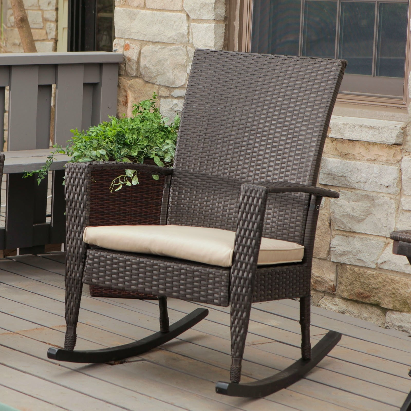 Small Patio Rocking Chairs With Regard To Popular Simple Vintage Wicker Rocking Chair On Small Home Remodel Ideas With (View 2 of 15)