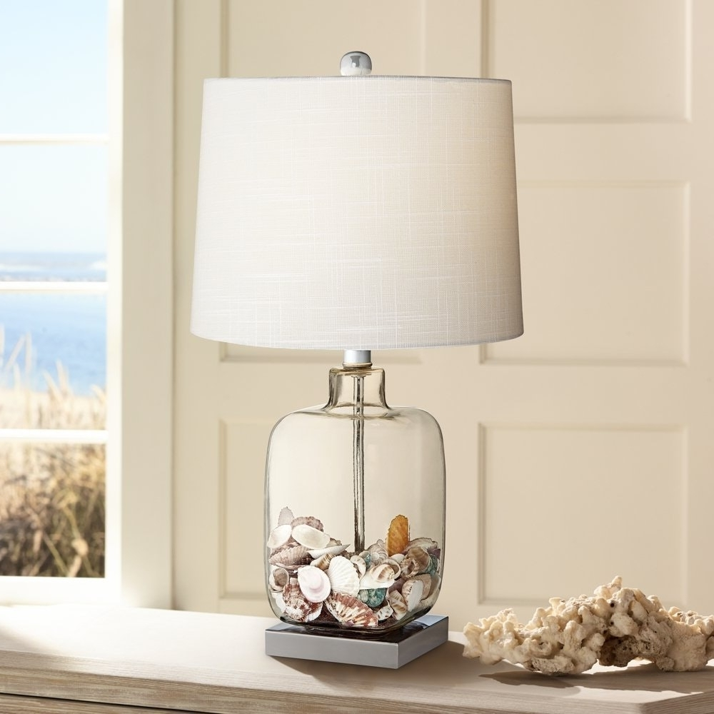 Square Glass Pics With Astounding Clear Table Lamp Bran Base Shades Intended For Most Up To Date Clear Table Lamps For Living Room (View 15 of 15)