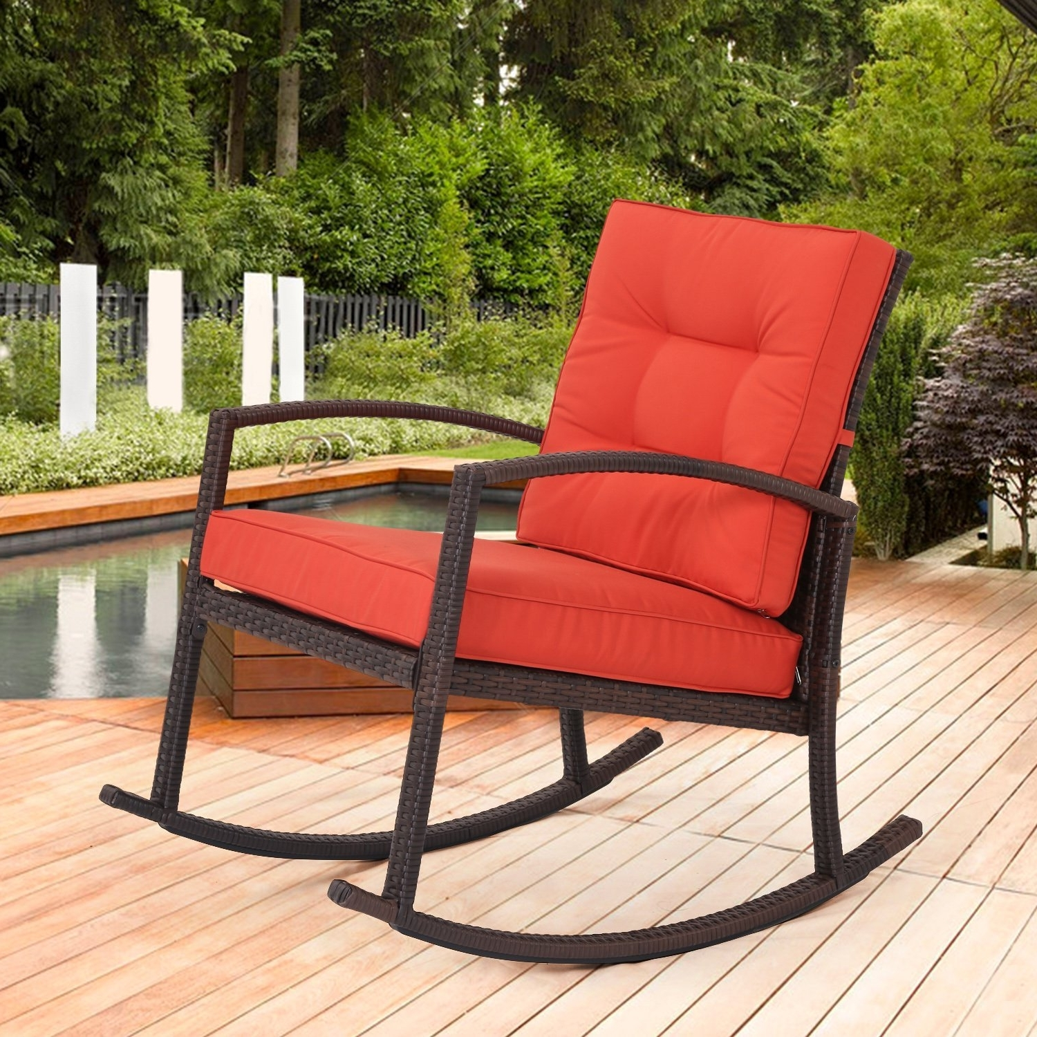 Stackable Patio Rocking Chairs Pertaining To Well Liked Patio : Patio Furniture Cushions Matching Umbrella Lovely Furniture (View 13 of 15)