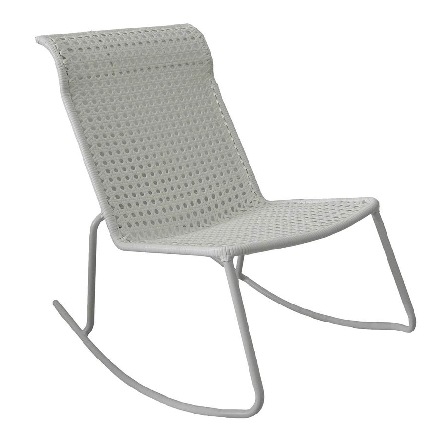 Stackable Patio Rocking Chairs With Regard To Current Garden Treasures Jewel Point White Steel Stackable Patio Rocking (View 11 of 15)
