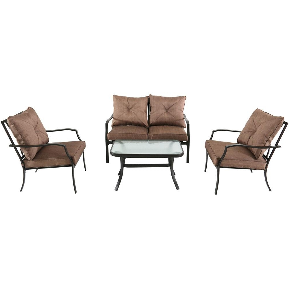 Steel Patio Conversation Sets In 2017 Hanover Palm Bay 4 Piece Steel Patio Conversation Set With Copper (View 5 of 15)