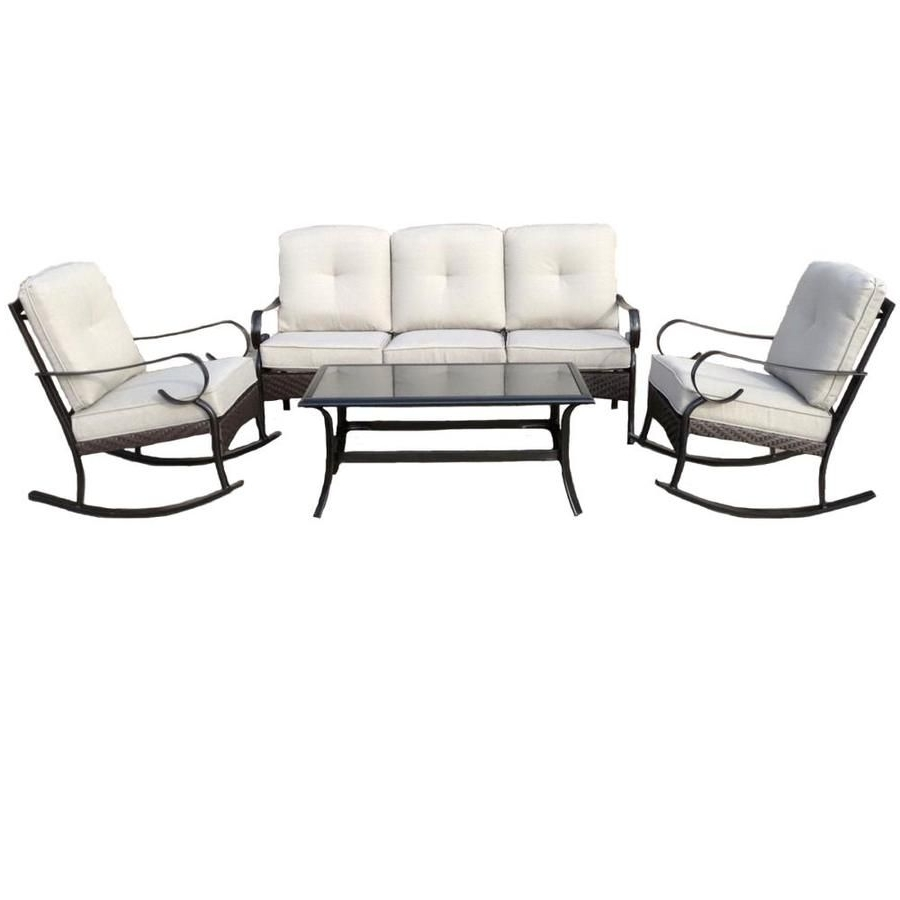 Steel Patio Conversation Sets With Trendy Garden Treasures Arbington 4 Piece Steel Patio Conversation Set (View 14 of 15)