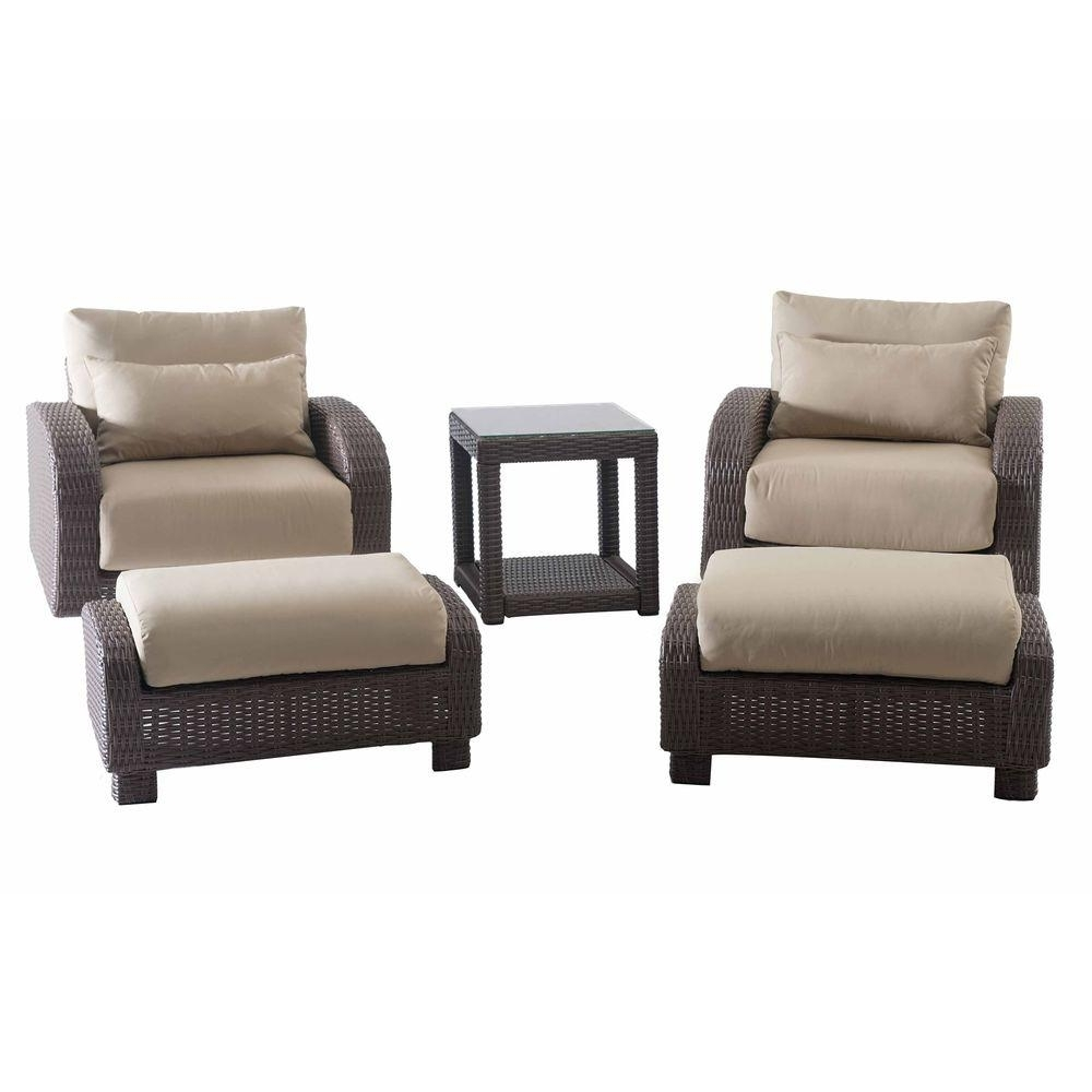 Sunjoy Symphony 5 Piece Patio Conversation Set With Beige Cushions In Fashionable 5 Piece Patio Conversation Sets (View 13 of 15)