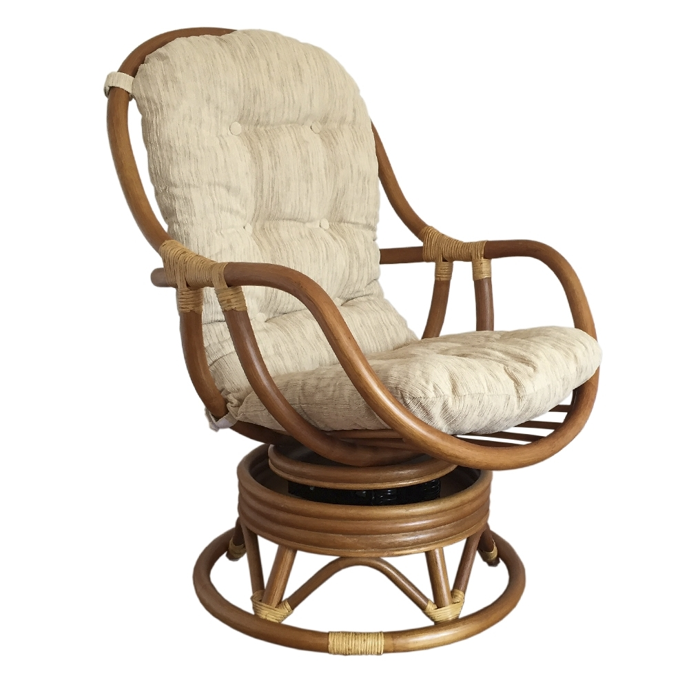 Swivel Rocking Chair Erick Color Light Brown With Cushion (View 9 of 15)
