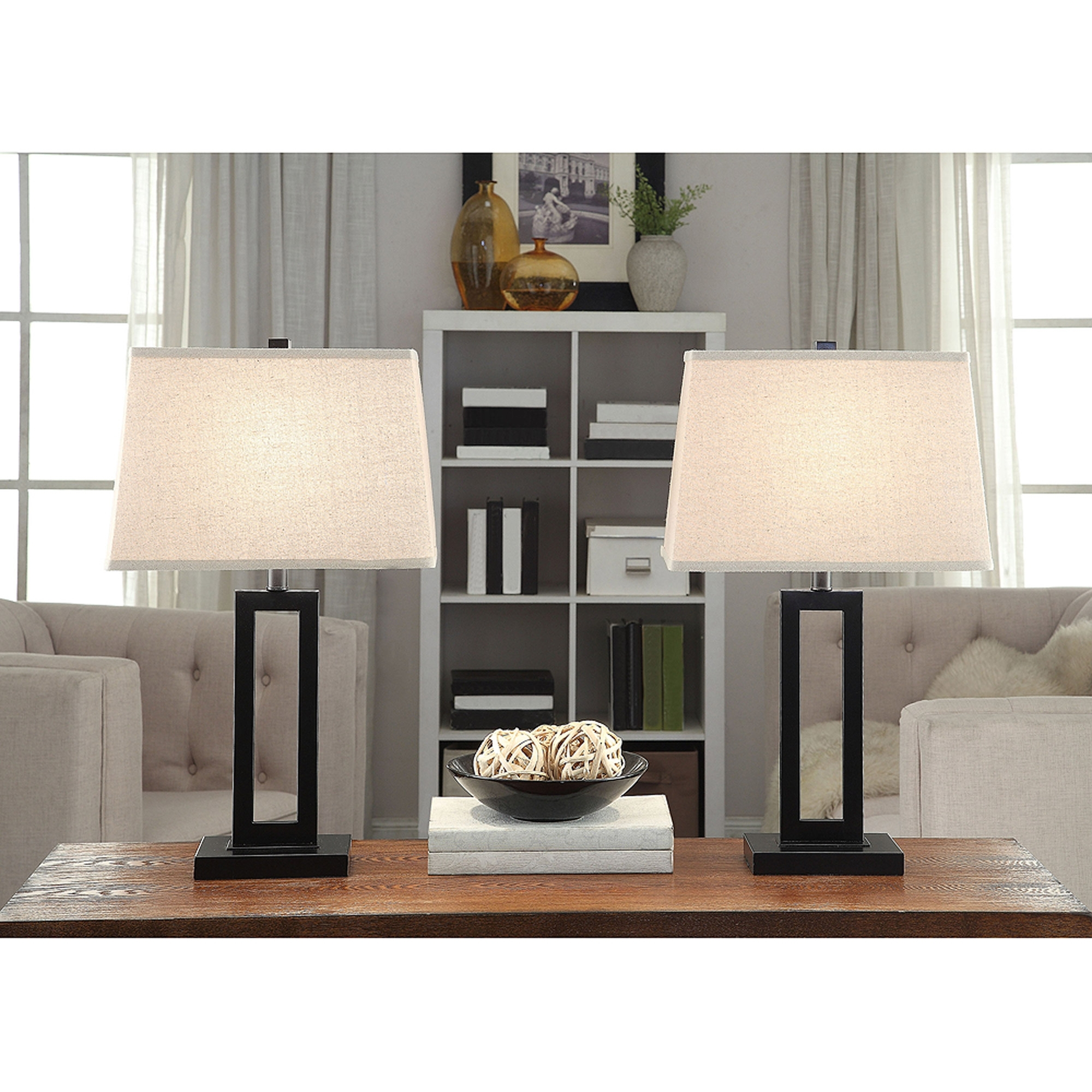 Table Lamp Set Of 2 Desk Living Room Black Contemporary, Living Room Regarding Most Recent Set Of 2 Living Room Table Lamps (View 11 of 15)