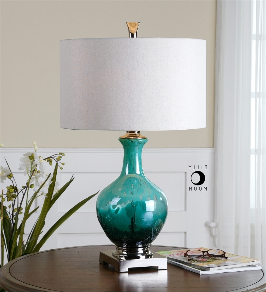 Teal Living Room Table Lamps For Well Known Breathtaking Colored Glass Table Lamp 18 Introducing Pier One (View 3 of 15)