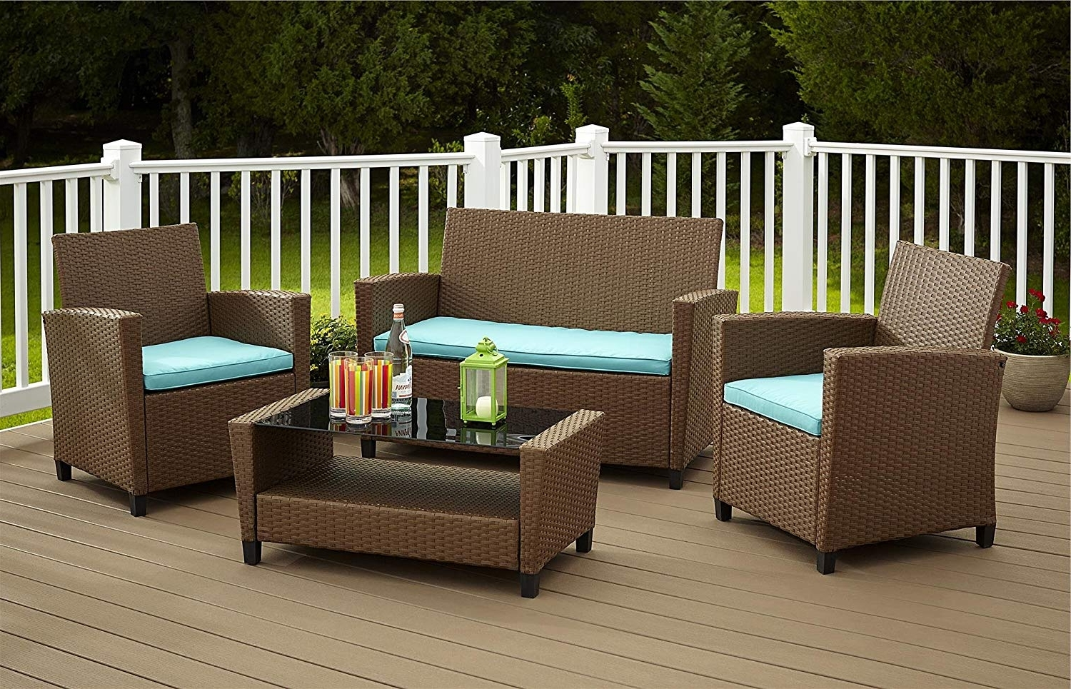 Terrific Resin Outdoor Furniture Amazon Com Cosco Products 4 Piece Regarding Most Recently Released Resin Conversation Patio Sets (View 14 of 15)