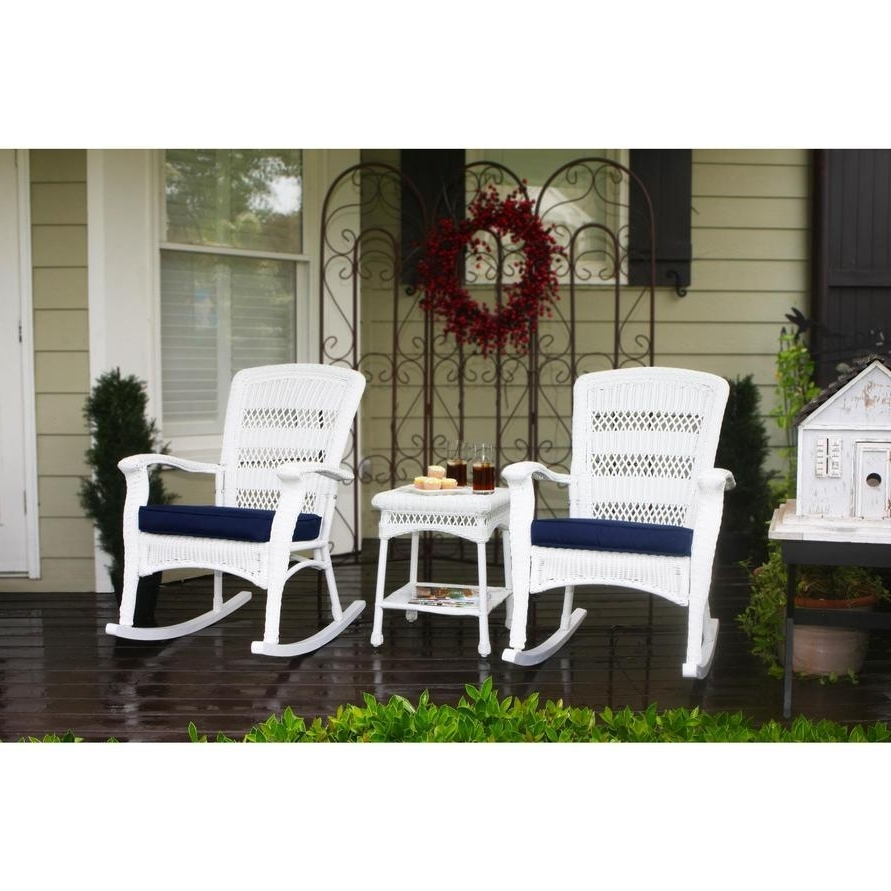 Tortuga Plantation 3 Piece Resin Wicker Rocking Chair Set – Rocking In 2017 Wicker Rocking Chairs Sets (View 10 of 15)