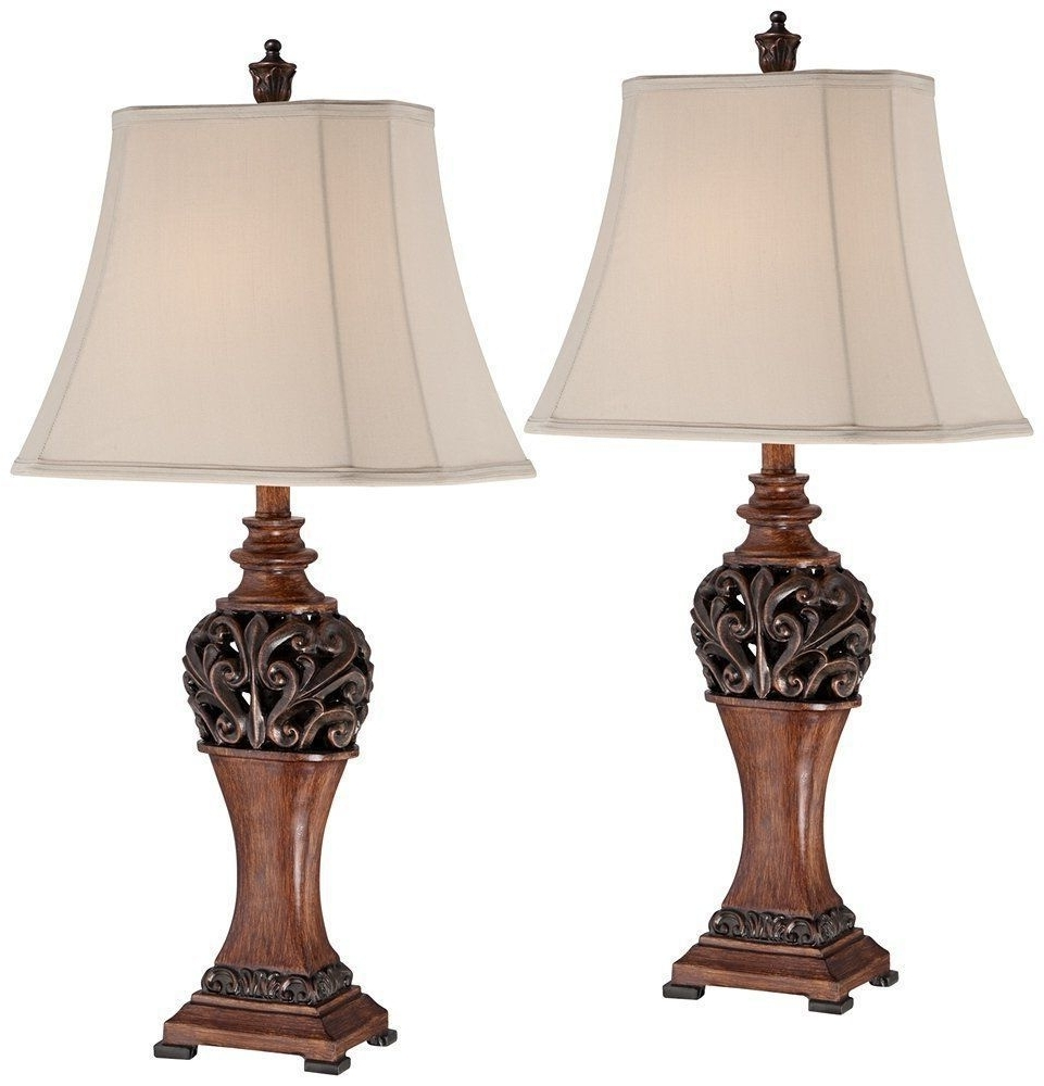 Traditional Table Lamps For Living Room Within Famous 2 Bronze Set Traditional Table Lamps Lighting Led Decor, Bronze (View 13 of 15)