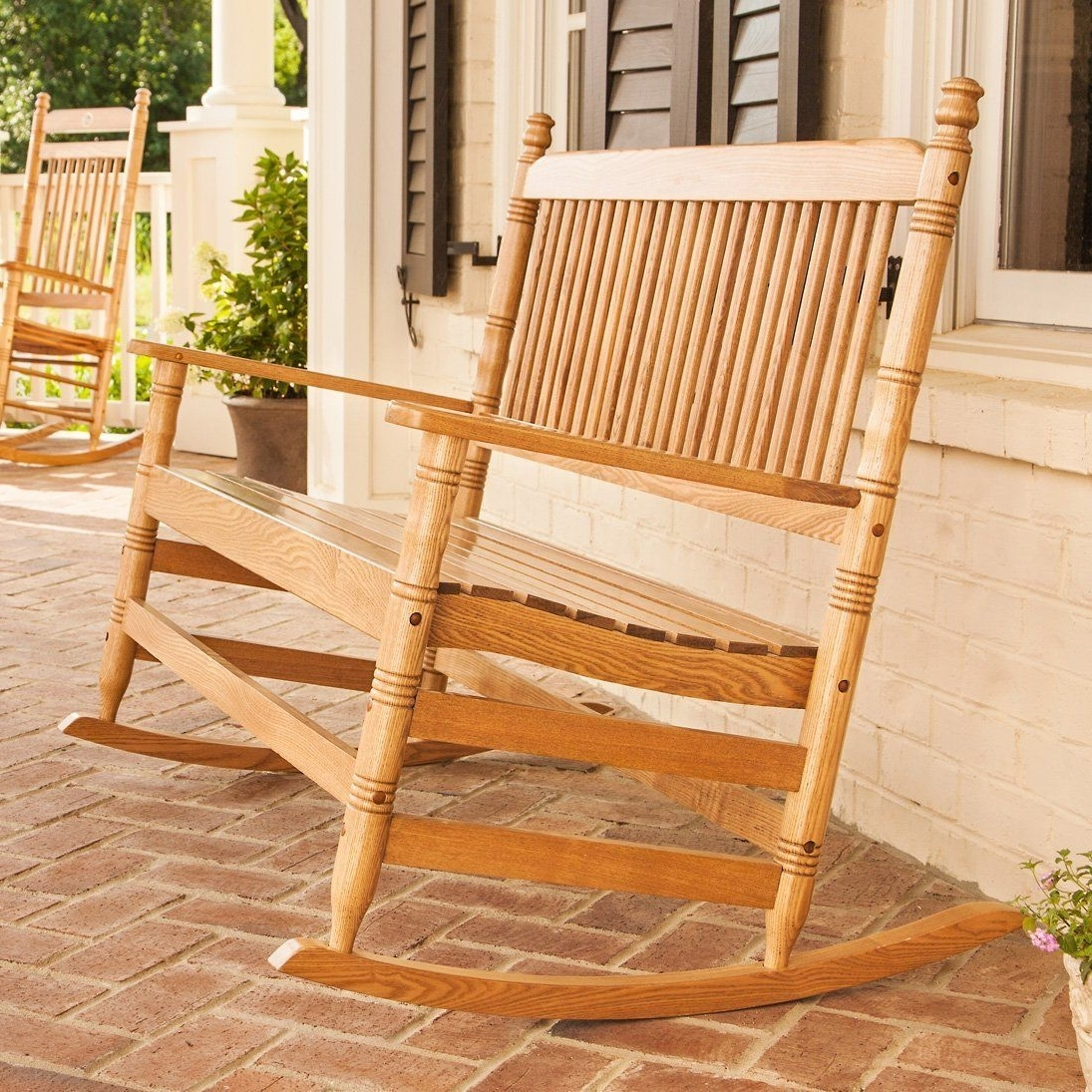 Trendy 4' Oak Double Rocking Chair – From Cracker Barrel – I Need This On With Regard To Rocking Chairs At Cracker Barrel (View 12 of 15)