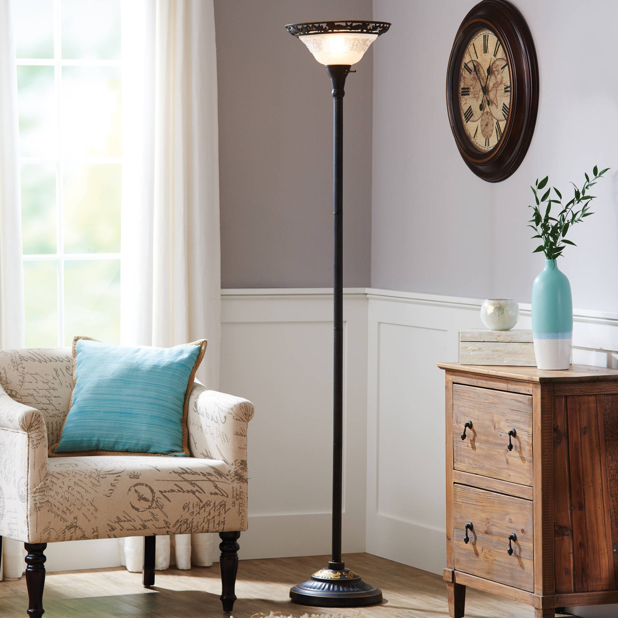 "Trendy Better Homes & Gardens 70"" Victorian Floor Lamp With Etched Glass Shade Within Living Room Table Lamp Shades (View 7 of 15)"