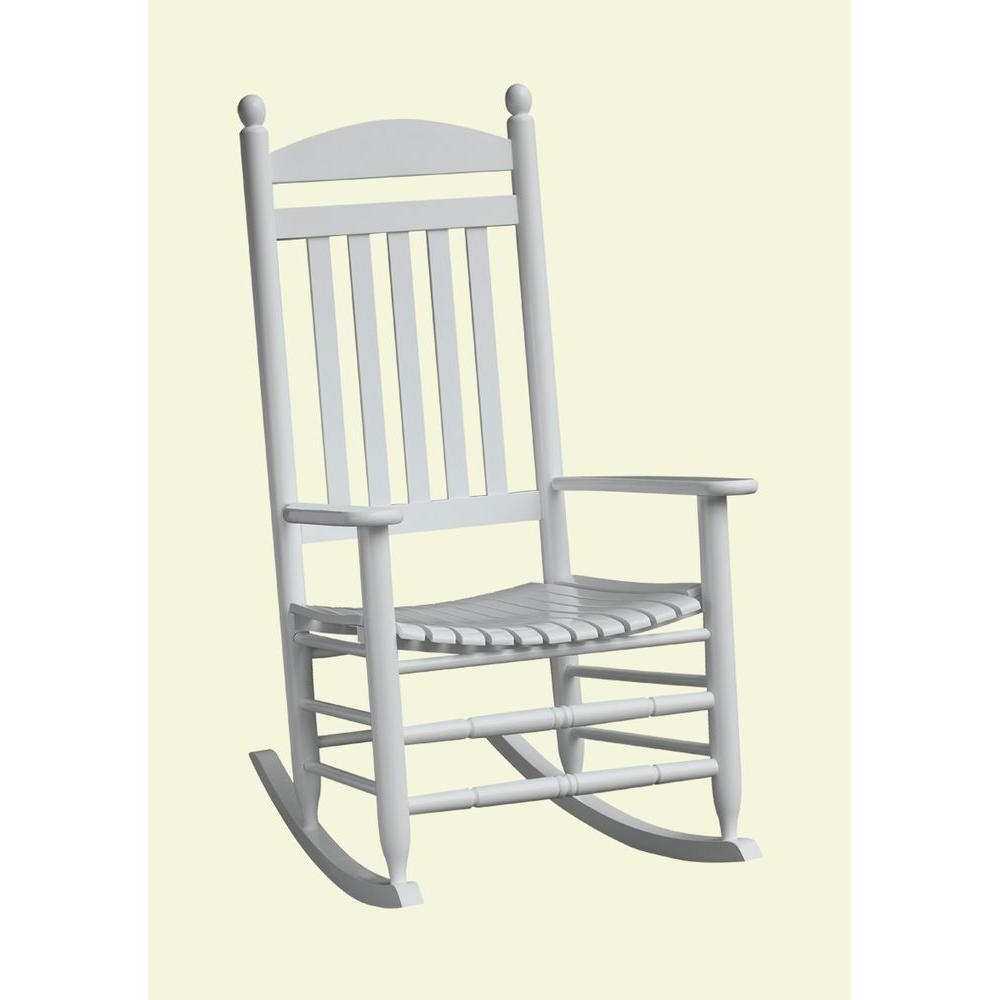 Trendy Bradley White Slat Patio Rocking Chair 200Sw Rta – The Home Depot Throughout White Patio Rocking Chairs (View 7 of 15)