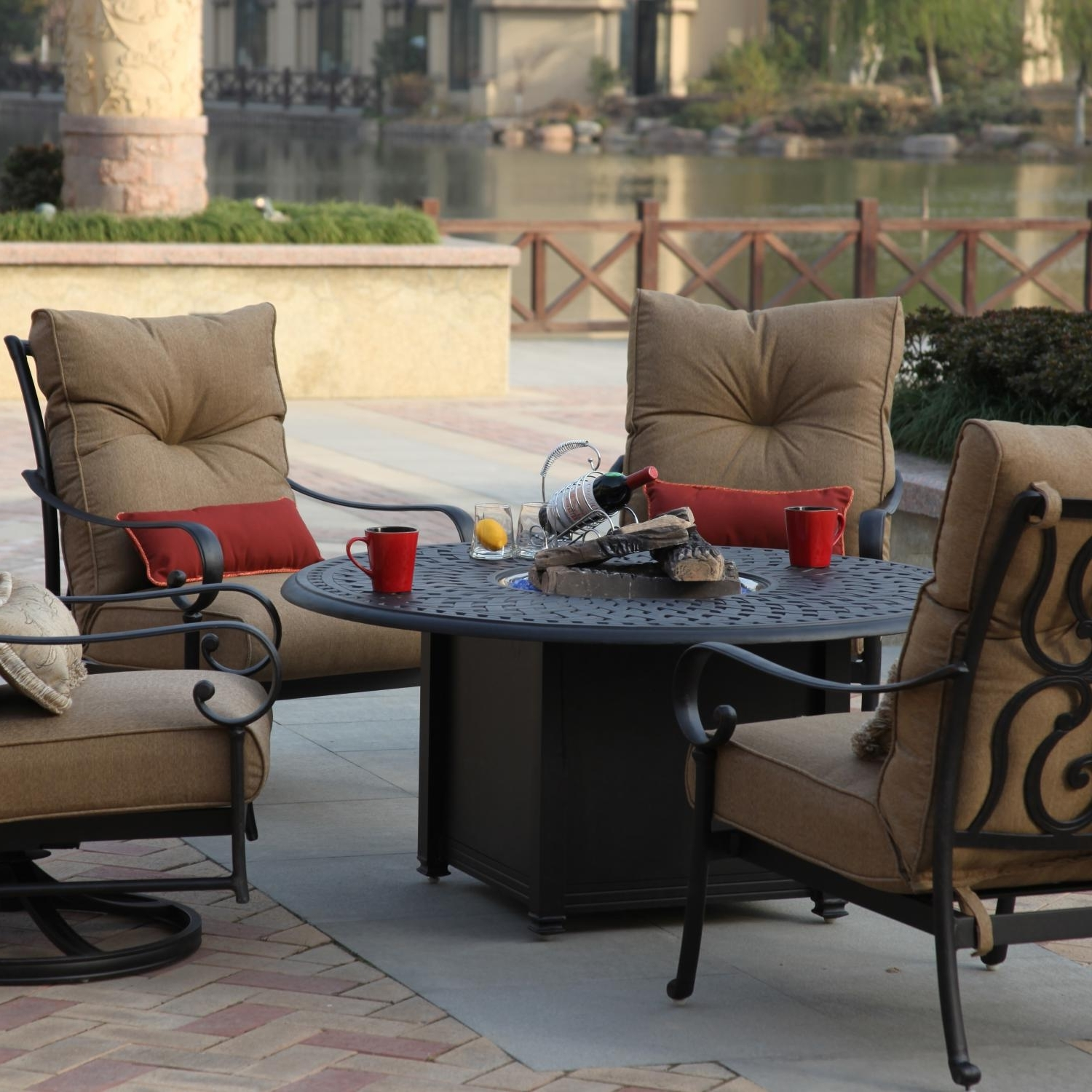 Trendy Deep Seating Patio Conversation Sets In Darlee Santa Anita 5 Piece Patio Fire Pit Seating Set (View 2 of 15)