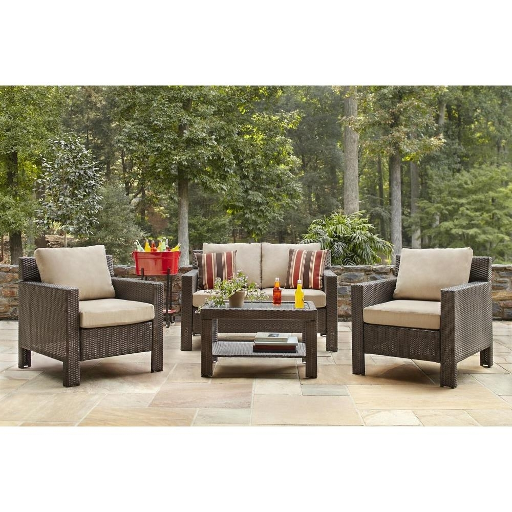 Trendy Hampton Bay Beverly 4 Piece Patio Deep Seating Set With Beverly Throughout Patio Conversation Sets With Cushions (View 15 of 15)