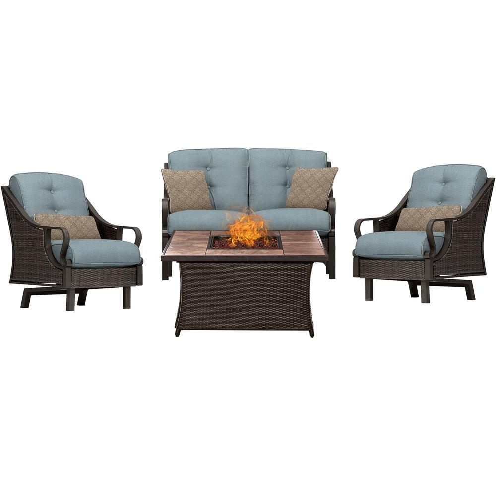 Trendy Hanover Ventura 4 Piece All Weather Wicker Patio Conversation Set Regarding Patio Conversation Sets At Home Depot (View 14 of 15)